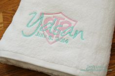 CTR Baptism Towel Pink and Aqua LDS gift by DaintyCouture