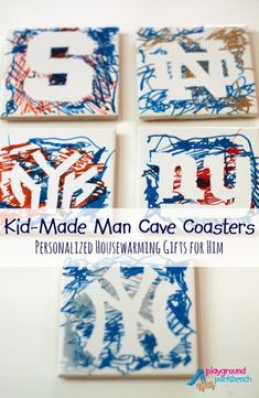 DIY Personalized Man Cave Gifts - Sports Team Coasters