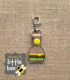 yummy cheeseburger happy snap tab design emoji snap tab key fob keychain embroidery design sew pes dst +more Instant Download! bean stitch