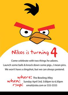 angry birds party invitation