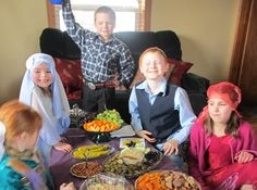 Christian kids celebrating Passover to learn about the Jewish roots of their faith. Passover, 2013.