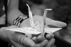 What if I held an origami sheet music crane when I walked down the aisle. Much more unique than a bouquet Tumblr, Origami Sheets, 1000 Cranes, Cold Hearted, Music Pics, Oragami, Stress Less, Invite Your Friends, Image Sharing