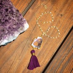 Agate Druzy Slice Pendant  Tassel Necklace by ArcherandBull