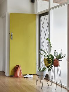 The ultimate in adding a colour burst, why not use your absolute favourite colour and make your mark? This is a great use of colour, it livens the space and welcomes you home each day. No need for a boring front door! Door is painted in Asparagus. Photography by Eve Wilson and styling by Ruth Welsby.