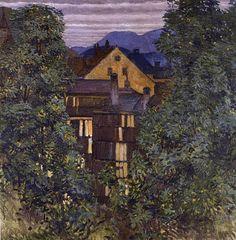 Koloman Moser, En regardant à travers Payerbach, dans le contexte Rax, 1913