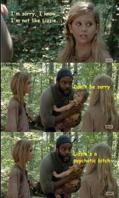 The Truth About Lizzie - The Walking Dead Memes that live on after the characters and season ended. Memes are the REAL zombies of the show. Walking Dead Funny, Glenn The Walking Dead, The Walk Dead, Walking Dead Coral, Walking Dead Quotes, Walking Dead Tv Series, Carl Grimes, Glenn Y Maggie, Twd Memes