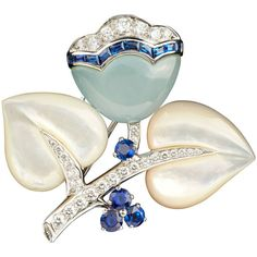 Preowned Van Cleef & Arpels Rare Mother Of Pearl Sapphire Diamond... (27 700 AUD) ❤ liked on Polyvore featuring jewelry, brooches, blue, leaf charms, sapphire brooch, charm jewelry, leaf brooch and floral brooch
