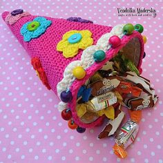 Crochet candy cone crochet pattern DIY by VendulkaM on Etsy, $4.80