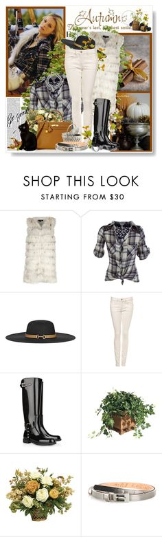 """Autumn - the year's last, loveliest smile"" by amaryllis ❤ liked on Polyvore featuring K-Yen, Reiss, Valentino, Ethan Allen, Hermès, Philippe Ferrandis, skinny jeans, wide brim hats, studded boots and plaid shirts"
