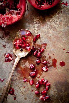 Natural light food photography by Dina Avila of Portland, Or- Pomegranate