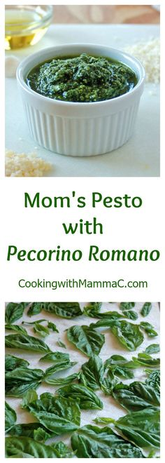 Mom's Pesto with Pecorino Romano is the best! It'll become your go-to recipe for basil pesto sauce! Gluten free.