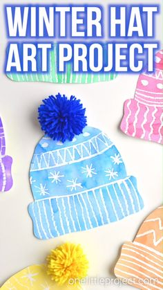 This winter hat art project for kids is such a fun winter craft idea! Use the free printable winter hat template to have Kids Winter Hats, Winter Crafts For Kids, Winter Fun, Art For Kids, Winter Preschool Crafts, Preschool Art Projects, Winter Art Projects, Projects For Kids, Christmas Art Projects