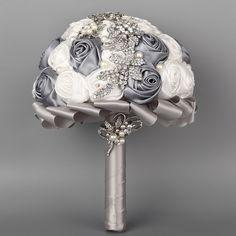 Amazon.com - FAYBOX Hand Made Satin Rose Flowers a Row Rhinestone Brooch Bridal Wedding Bouquet Grey and White -