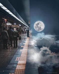 On a train platform I would love to spend time on. Photo Manipulation in Digital Art. Click the image, for more art by Hansruedi Ramsauer. Surreal Photos, Surreal Art, Aesthetic Art, Aesthetic Pictures, Natur Wallpaper, Manipulation Photography, Surrealism Photography, Photocollage, Hd Backgrounds