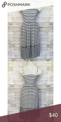 Juicy Couture smocked top mesh dress Small Juicy Couture black and cream striped adjustable strap dress. 3 layers - the top is black and cream stripe stretchy mesh, the middle is cream stretchy mesh and the inside is a super soft cream jersey knit. So comfy! The bodice is stretchy and smocked. Only worn a couple times. Beautiful! Juicy Couture Dresses Midi