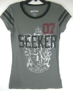 84577640 Harry Potter Junior's L 11/13 Women's Gryffindor Crest Seeker Tee Gray  Quidditch #HarryPotter