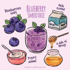 Healthy Smoothies, Healthy Drinks, Recipe Drawing, Food Doodles, Cute Food Art, Watercolor Food, Think Food, Food Journal, Food Drawing