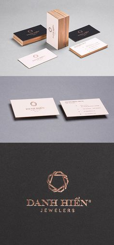 Sophisticated Luxury Copper Foil Stamped And Edge Painted Business Cards For A Jeweller
