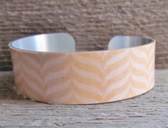 Cuff Bracelet ORANGE Chevron Art Jewelry Aluminum MEDIUM (M228) 3/4 Inch Width