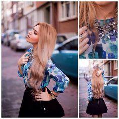 Zara Blouse, Zara Necklace, Mango Skirt, Dkny Watch