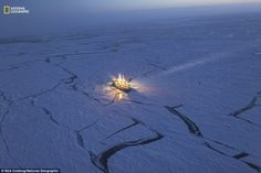Extreme research: To track changes in sea ice, the Norwegian research vessel Lance drifted...