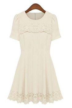 Cutout Scallop Short Sleeve Dress OASAP.com