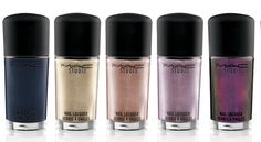 MAC Studio Nail Lacquer in (L-R) Midnight Sky, Screaming Bright, Soiree, Girl Trouble and Mean & Green