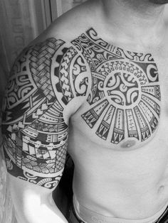 Samoan Chest Tattoos for Men | Shoulder Tribal Tattoo Design