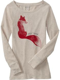 NWT OLD NAVY GRAPHIC WAFFLE CREW-NECK FOX HEATHER OATMEAL SHIRT, TOP, SMALL SIZE