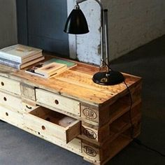 tabe w/ drawers made of pallets