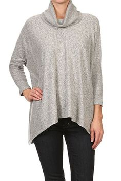 Freeloader Clothing Cowl Neck Sweater in Heather Grey