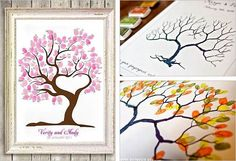 20 Creative Guest Book Ideas For Wedding Reception-love the fingerprint tree guest book! Fall Wedding, Our Wedding, Dream Wedding, Theme Nature, Fingerprint Tree, Fingerprint Wedding, Thumb Prints, Wedding Guest Book, Book Design