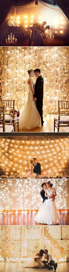 Magical Lighting Wedding Backdrop / http://www.deerpearlflowers.com/53-super-creative-wedding-photo-backdrops/