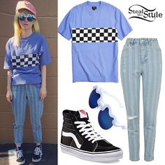 Hayley Williams: Check Tee, Stipe Jeans