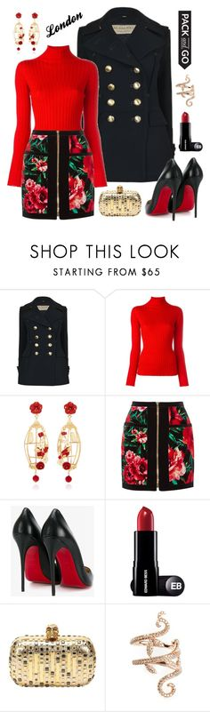 """Untitled #416"" by maylamartha on Polyvore featuring Burberry, Blumarine, Of Rare Origin, Balmain, Christian Louboutin, Alexander McQueen and Elise Dray"