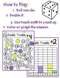 Double Trouble: Dice games to teach double addition facts up to 12 and counting-up.