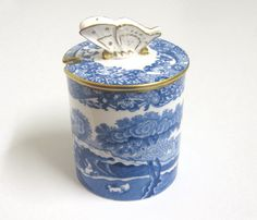 Rare Vintage Spode's Italian Jam Pot with Butterfly Finial, Blue and White by TheWhistlingMan on Etsy