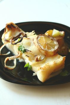 Portugese Oven Roasted Bacalhau (Salted Cod Fish) with Lemon