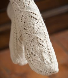 Faina Goberstein's Lace Stockings are stunning. Published in the book The Art of Seamless Knitting, these vintage-inspired and romantic stockings are just gorgeous! Faina is offering a… Knee High Stockings, Knit Stockings, Crochet Socks, Knit Crochet, Knit Socks, Lace Knitting, Knitting Socks, Lace Patterns, Knitting Patterns