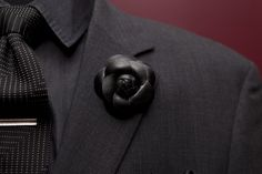 This is hot!  Black Leather Flower Lapel Rose #lapel-pins