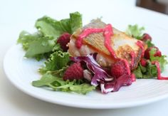 Admittedly, Raspberry Butter Sauce walks a fine line between a sauce and a salad dressing. Drizzled over crispy, pan-seared salmon on a bed of greens, it Primal Recipes, Healthy Recipes, Atkins Recipes, Healthy Dinners, Delicious Recipes, Salad Sauce, Pan Seared Salmon, Salmon Salad, Butter Sauce