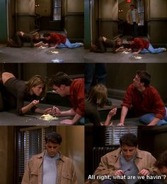 Friends, love that Joey keeps a fork in his jacket for emergencies.