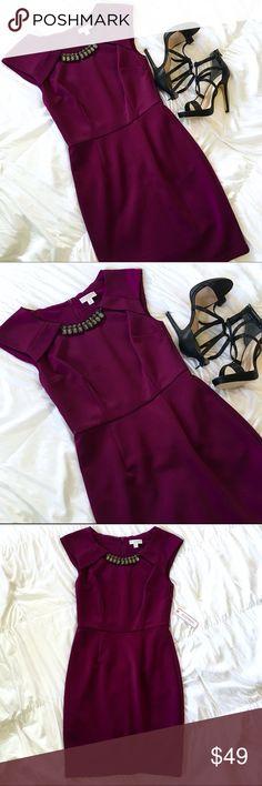 ✨HP✨NWT Bisou Bisou Plum Dress With Embellishment NWT Bisou Bisou Plum Dress With Embellishment Bisou Bisou Dresses Midi