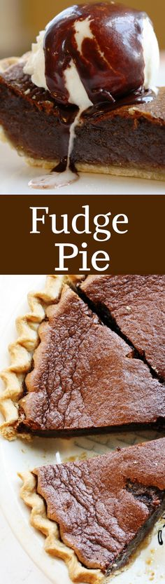 Fudge Pie with a wonderful texture, light chocolate flavor and a filling similar to pecan pie without the pecans!