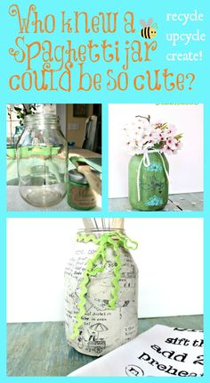 Who knew a spaghetti jar could be so cute? Recycle, upcycle, create!~ Crafts With Glass Jars, Mason Jar Crafts, Bottle Crafts, Mason Jars, Recycled Glass, Recycled Crafts, Diy Crafts, Dollar Tree Crafts, Bottles And Jars