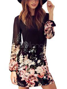 Maj des femmes robes robes en mousseline de soie courtes de la glissière au dos imprimé Floral-manches longues