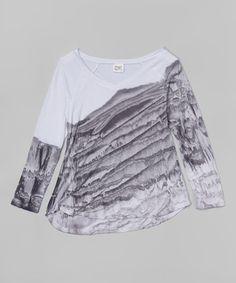 White & Black Tie-Dye Top #zulily #zulilyfinds