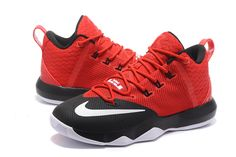 950efff62c1a 2017 April New Arrival Nike LeBron Ambassador 9 IX University Red Black  White Cheap - Click Image to Close