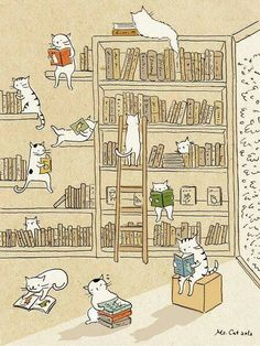 Cute illustrations by Ms. But she forgot to add drawings of cats sleeping on open books. Crazy Cat Lady, Crazy Cats, I Love Cats, Cute Cats, Silly Cats, Illustration Mignonne, Cute Illustration, Book Lovers, Cat Lovers