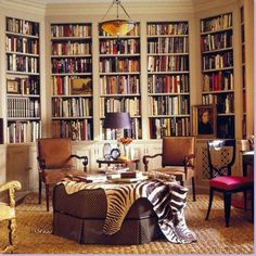Really love the angled bookcases. Might have to do this someday!